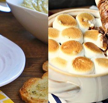Garlic Baguette Chips, left (Image: seasaltwithfood.com), and Deconstructed s'mores fondue (Photo: reneeskitchenadventures.com)