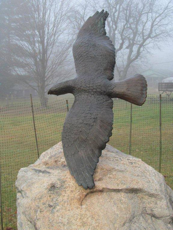 This sculpture of a hawk was created by Brenda Wainman Goulet for Bondi Village Resort in Lake of Bays (Photo: Nancy Tapley on Facebook)