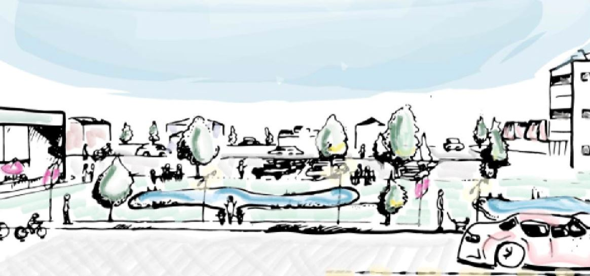 A drawing of the vision for Brendale Square contained in the Ryerson report