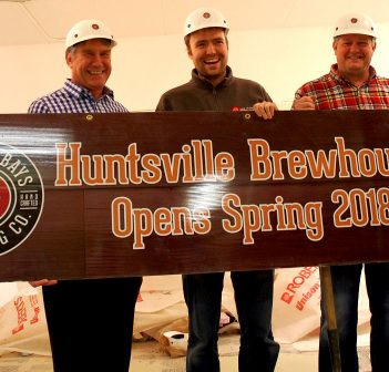 (From left) MP Tony Clement, MPP Norm Miller, Lake of Bays Brewing Company president Darren Smith, Mayor Scott Aitchison and brewmaster Dan Unkerskov at the Huntsville Brewpub 'groundbreaking'