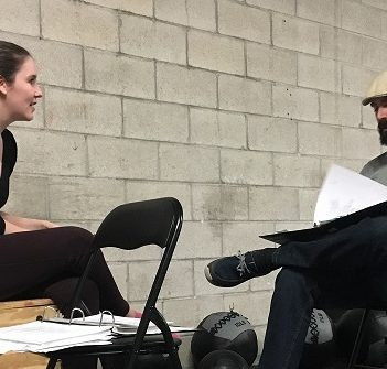 Director Mallary Duncan (left) runs lines with Serge Charlebois as Fagin in Oliver!