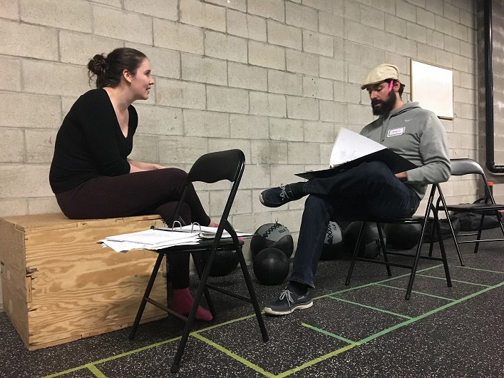 Director Mallary Duncan (left) runs lines with Serge Charlebois as Fagin