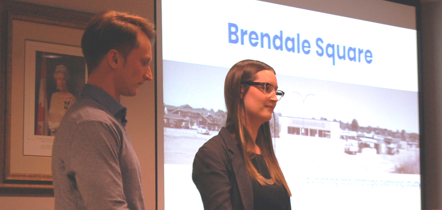 Ryerson Master of Planning students Sean Guenther (left) and Anna Flood present a report to Huntsville's Planning Committee