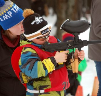 Dylan Bennett from Riverside takes careful aim in the grade 3/4 boys race at the Tawingo Biathlon