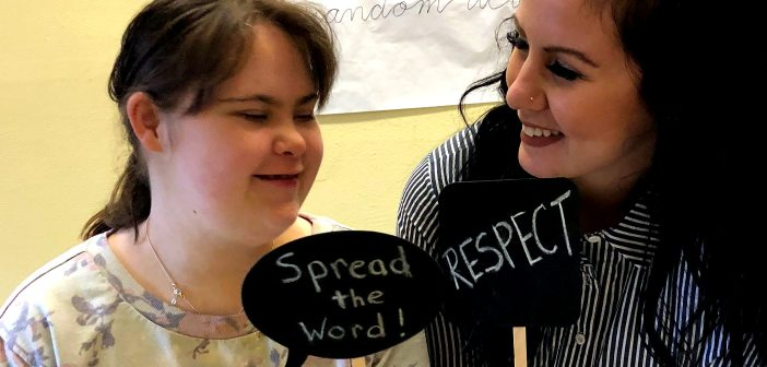 Kelly Miller (left) and Victoria Lamont help spread the word about respect