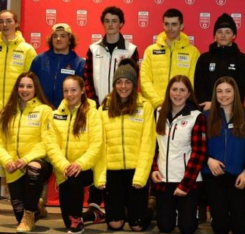 Ashley Cambell (front row, third from right) will compete for Team Canada at the Whistler Cup from April 12-15, 2018. (Photo: Alpine Canada)