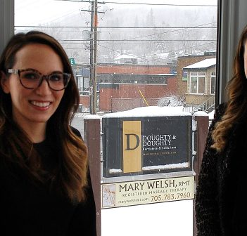 Claire (left) and Lauren Doughty in their new office on Caroline Street