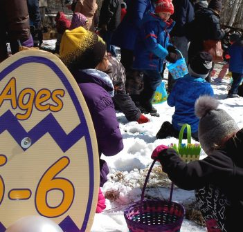 Kids split up into their age categories to find chocolate eggs at the annual Nutty Chocolatier Easter Egg Hunt
