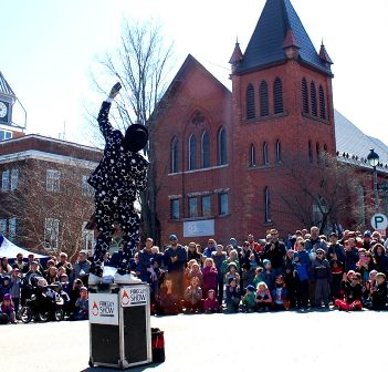 The Fire Guy entertains a crowd at the 2018 Muskoka Maple Festival