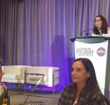 Anne Larcade speaks at the inaugural WITHorg summit in 2017 (supplied photo)