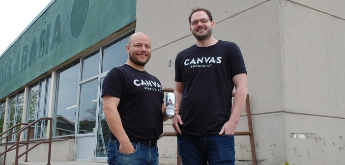 Canvas Brewing Co founders Jeffrey Woodworth (left) and Steve Koncan outside the location where the new brewery will be
