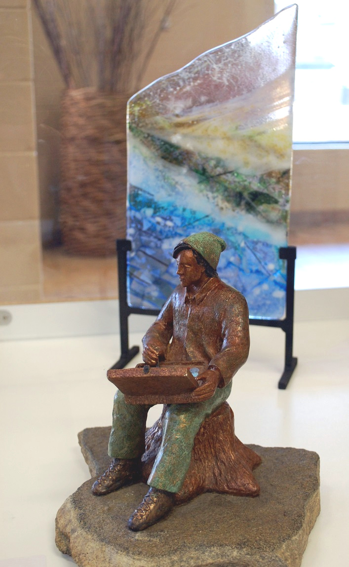 Tom Thomson by Brenda Wainman Goulet (foreground) and Early Spring by Susan Higgins
