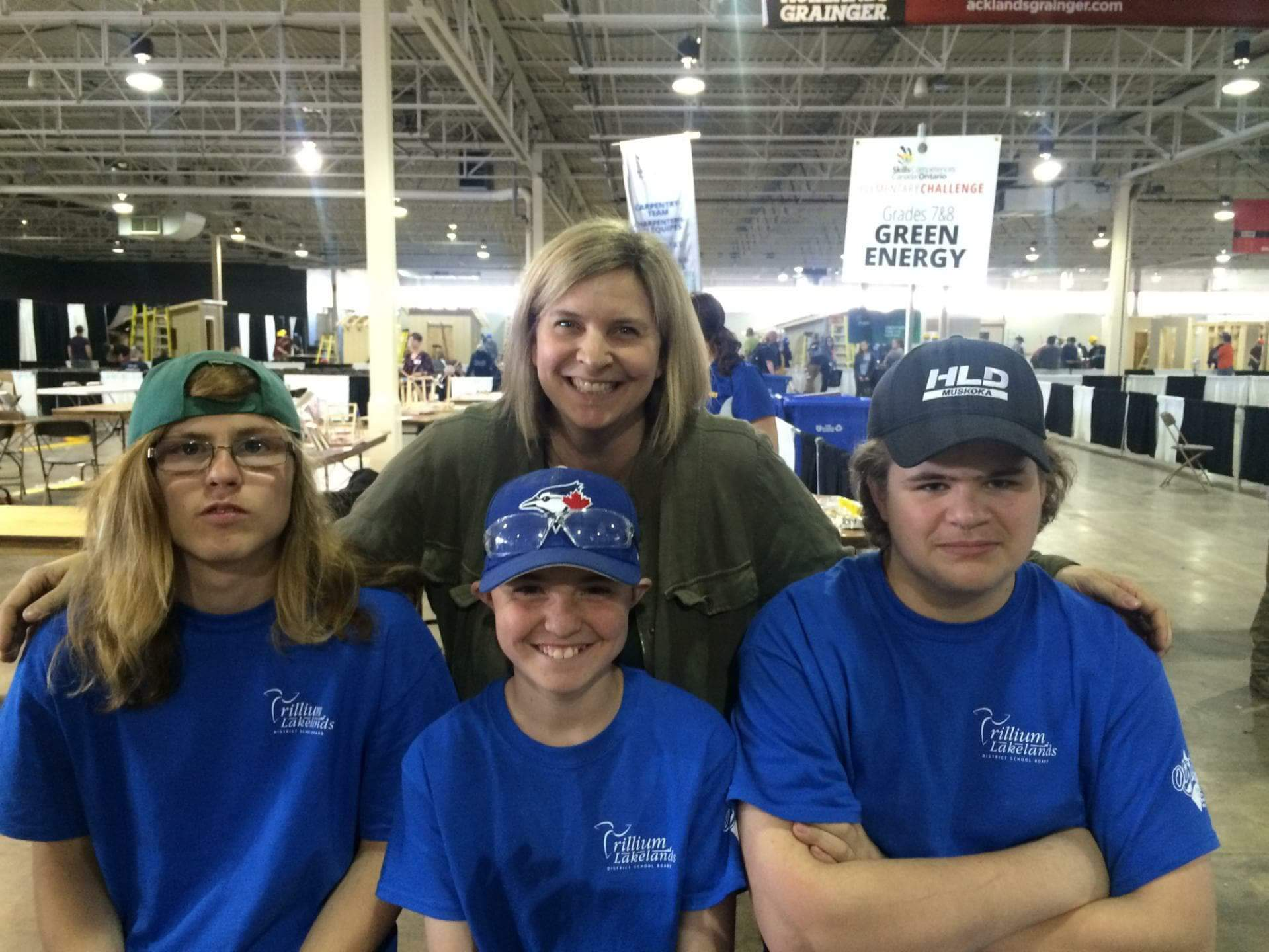 Intermediate Construction team (front from left) Nathan Thompson, Brayden Davidson and Colby Knowlton with teacher and coach Una Pape. Missing: Josh Markell. (Photo courtesy of Una Pape)