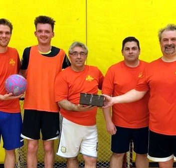 Championship winners Orange Crush (from left) Leigh Cameron, Doug Allen, Constantin, Anthony Asturi and Steve Fairhall. Not pictured: Chris Occhiuzzi, Ted Maduri