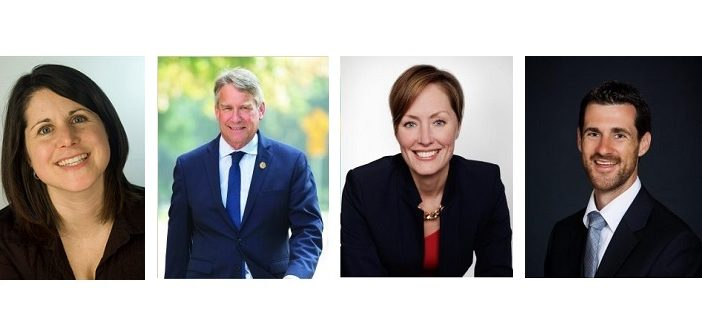 Parry Sound-Muskoka provincial candidates (from left) Erin Horvath (NDP), Norm Miller (Conservative), Brenda Rhodes (Liberal), Matt Richter (Green Party)