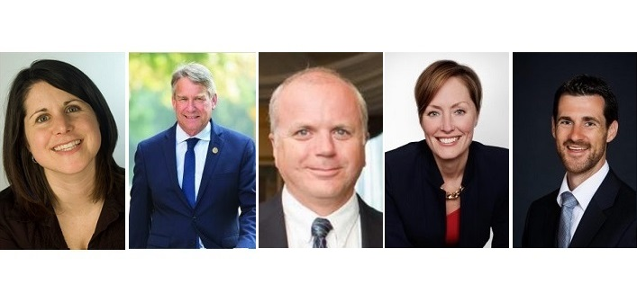 Parry Sound-Muskoka provincial candidates (from left) Erin Horvath (NDP), Norm Miller (Conservative), Jeff Mole (Independent), Brenda Rhodes (Liberal), Matt Richter (Green Party)