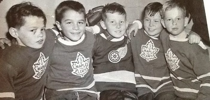 A young Roy MacGregor (left) with hockey pals Peter Salmon, Tim Kelly, Don Strano, and Doug Conway. (Doppler file photo courtesy of Linda Kelly)