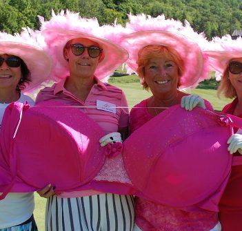 (From left) Catherine Campbell, Traci McIroy, Marilyn Bestwick, and Heather Tebby fill the cups on the 7th fairway at Deerhurst Lakeside