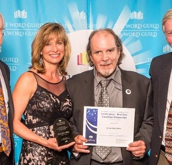 Kevin John White (second from right) accepts the award for The Word Guild's Best New Canadian Manuscript Contest with (from left) Steve and Julie Hill and his friend Bill Paterson (Supplied photo)