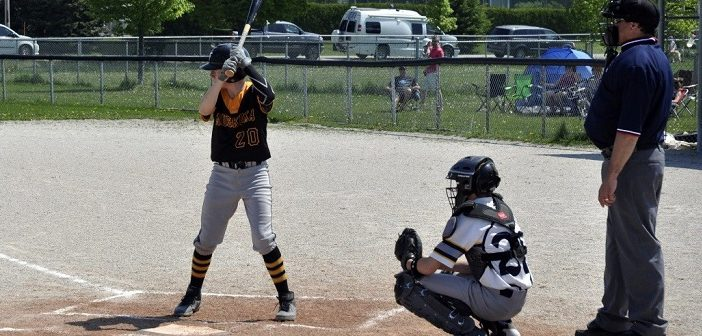 Wilson Babineau at bat during a game in Thornbury