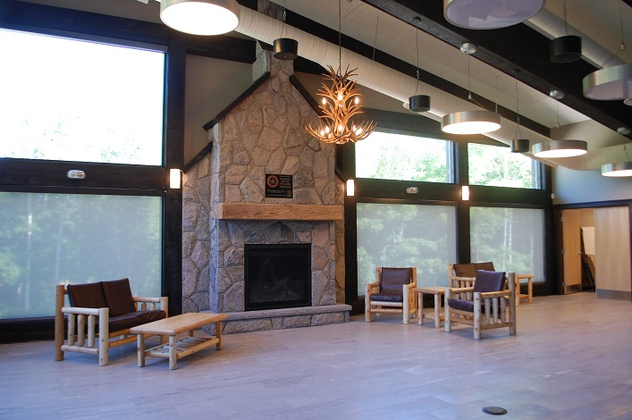 The warming centre, featuring a stone fireplace, will be a popular spot come winter