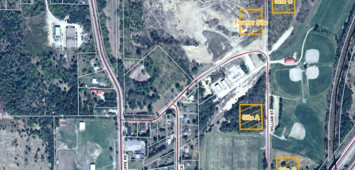 This aerial map shows potential sites for a multi-use facility at McCulley Robertson Recreation Park (Image: Town of Huntsville)