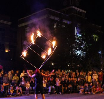 Fire always draws a crowd at Nuit Blanche North