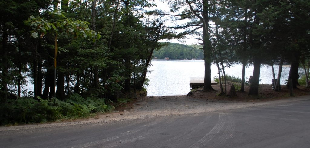 The entrance to the public boat launch at 4088 South Portage Rd
