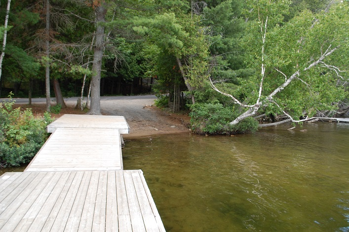 A view of the public boat launch at 4088 South Portage Rd from the adjacent dock