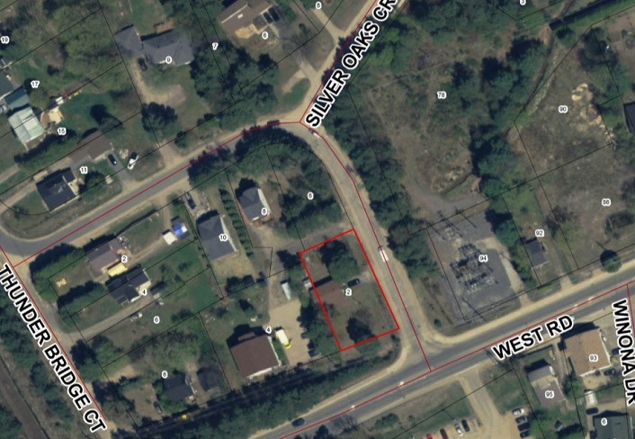 The location of the proposed four-plex at 2 Silver Street is outlined in red (Image: Town of Huntsville)