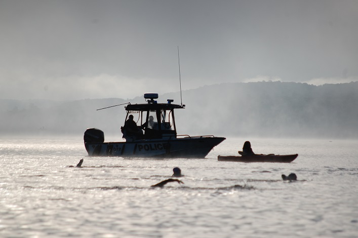 The OPP and volunteer spotters were on the water to ensure the swimmers were safe
