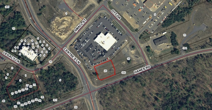The site of the proposed Tamarack North office at 20 Hanes Road is outlined in red (Image: Town of Huntsville)
