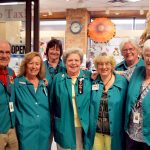 One, big, happy family! Auxiliary members (from left) David James (president), Lorrice Carruthers, Nancy Samuell, Irene Parker, Lorrie Lamb (director of volunteering), Ann Rogers and Isobel Coulter are always happy to help hospital visitors have the best possible experience.