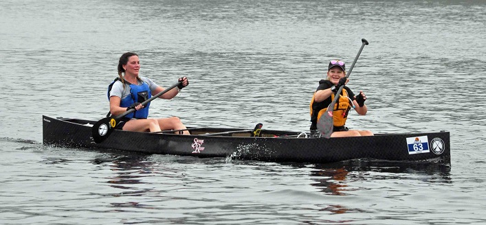 Team Muskoka X-Women, Megan Stephenson and Hillary Adams from Huntsville, in the 58km Sprint (Photo: Cheyenne Wood)
