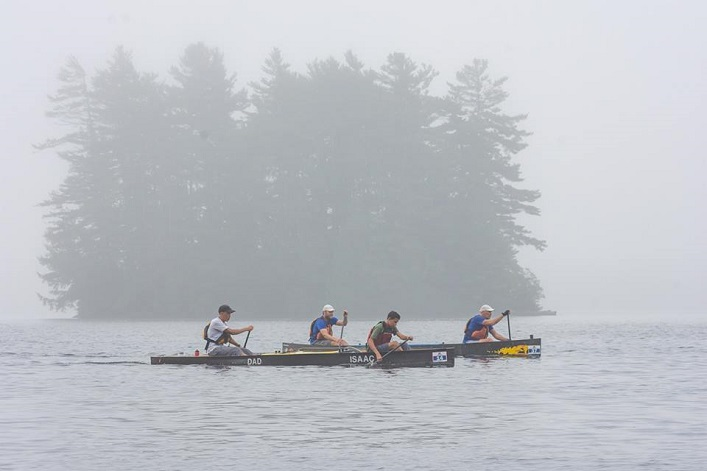 Dad Paul and Isaac Adams from Whitby ON (foreground) paddle hard next to team Cache Flash, Tim Turner and Wilson Prewitt, in the 130km Classic (Photo: Randy Mitson)
