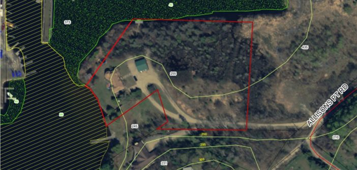 Allison's Point Road property delineated in red.