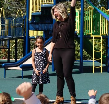HPS student Nandani Sieunarine, who made the very first donation to the playground, and teacher Kerri-Lynne Knappett cut the ribbon to celebrate the school's new accessible playground