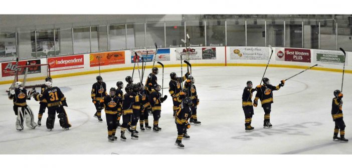 The Jr C Otters celebrate their 2018 home opener win