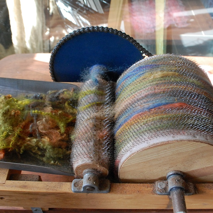Fibre artist Pam Carnochan dyes wool from the sheep that live on her farm to use in her 'watercolour with wool' artworks