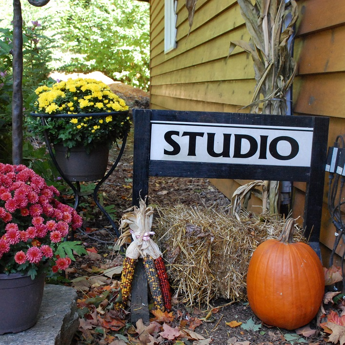 Many of the studios greet visitors with colourful fall displays, like this one at Limberlost Woodturning