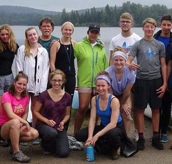 Rotary Youth Exchange student Andrea Bonafini (third from right) with other European students on a four-day camping trip in Algonquin Park. All are studying somewhere in Ontario. (supplied photo)