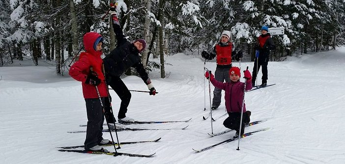 Arrowhead Nordic Track Attack students warming up (supplied photo)