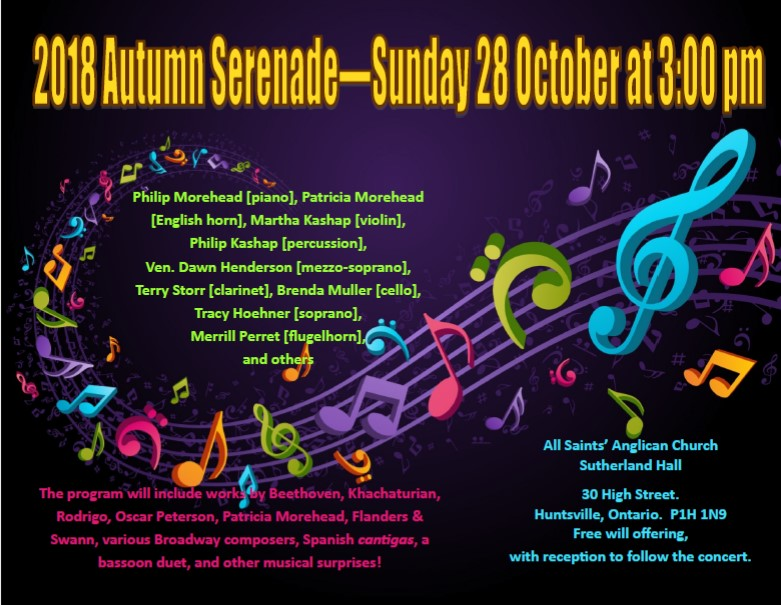 2018 autumn serenade at all saints 39 anglican 28 oct 3 pm for Wedding venues huntsville al