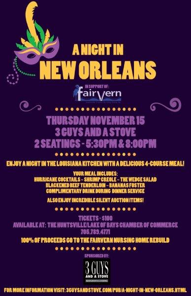 A night in new orleans in support of fairvern nursing home for Wedding venues huntsville al
