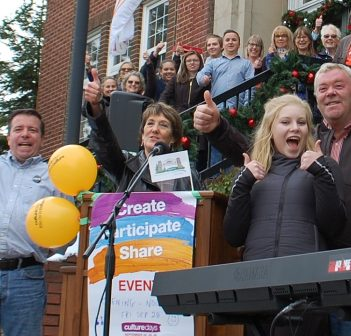 Briar Summers (front) kicks off Culture Days on the steps of Town Hall along with councillors (from left) Bob Stone, Nancy Alcock and Jason FitzGerald