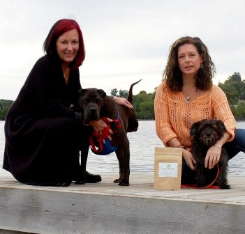 PawsitiveReleaf co-owners Karen Broad (left) with Hunter and Sarah Coombs with Spike