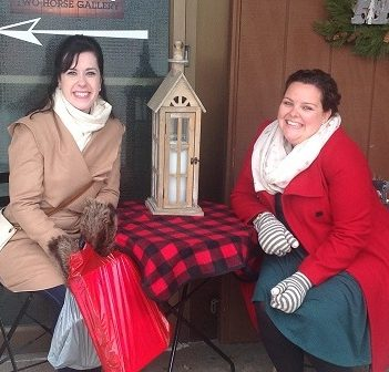 Sarah MacPhee (left) and Dana Baker, both staff at Christmas Tyme, were extras in A Veteran's Christmas (Photo: Christmas Tyme)