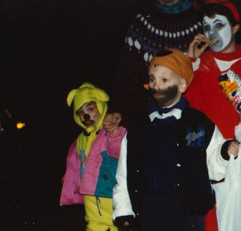 Trick-or-treaters on the Great Pumpkin Trail in 1992 (Photo: Muskoka Heritage Place)