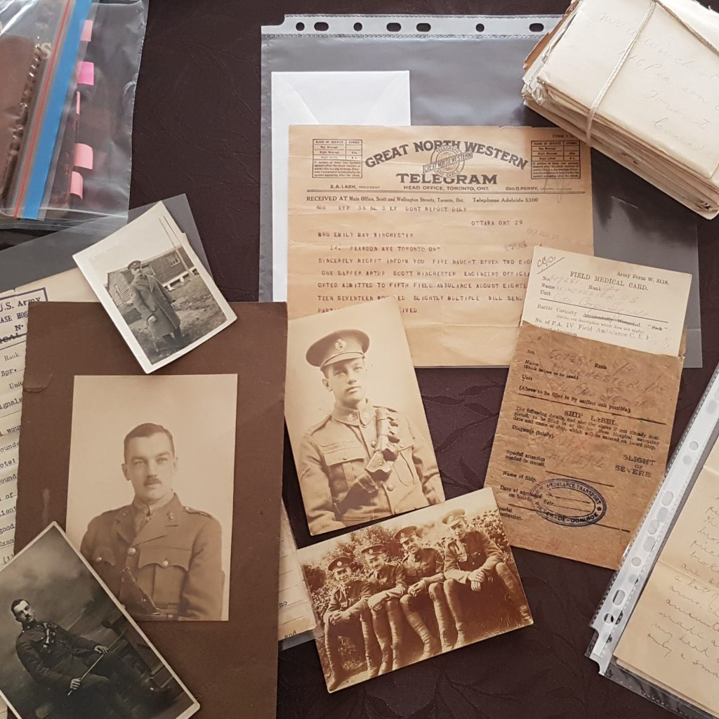 Some of the photos, letters and other documents from Arthur Scott Winchester's time in World War I