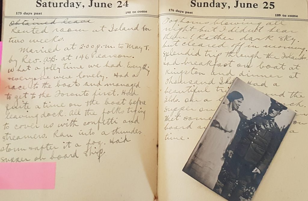 A photo of Arthur and May Winchester on their wedding day. His diary entry on the left briefly recounts the day.